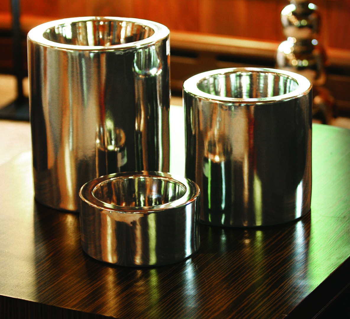 High Rise Nickel Collection Dog Bowls